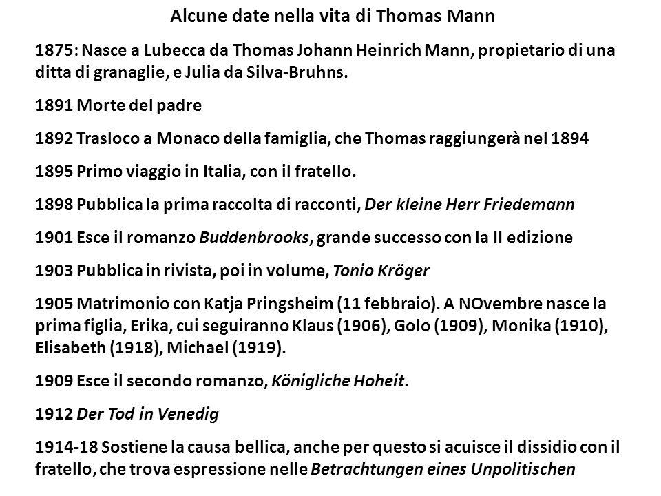 Alcune date nella vita di Thomas Mann 1875: Nasce a Lubecca da Thomas Johann Heinrich Mann, propietario di una ditta di granaglie, e Julia da Silva-Bruhns.