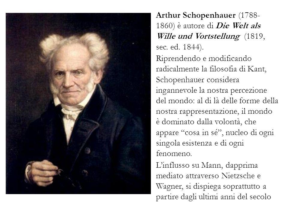 Arthur Schopenhauer (1788- 1860) è autore di Die Welt als Wille und Vortstellung (1819, sec. ed. 1844). Riprendendo e modificando radicalmente la filo