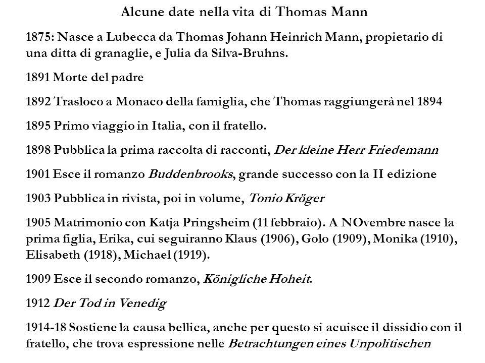 Alcune date nella vita di Thomas Mann 1875: Nasce a Lubecca da Thomas Johann Heinrich Mann, propietario di una ditta di granaglie, e Julia da Silva-Br