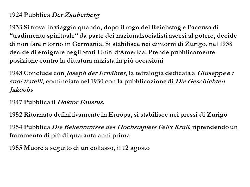 1924 Pubblica Der Zauberberg 1933 Si trova in viaggio quando, dopo il rogo del Reichstag e laccusa ditradimento spirituale da parte dei nazionalsocial