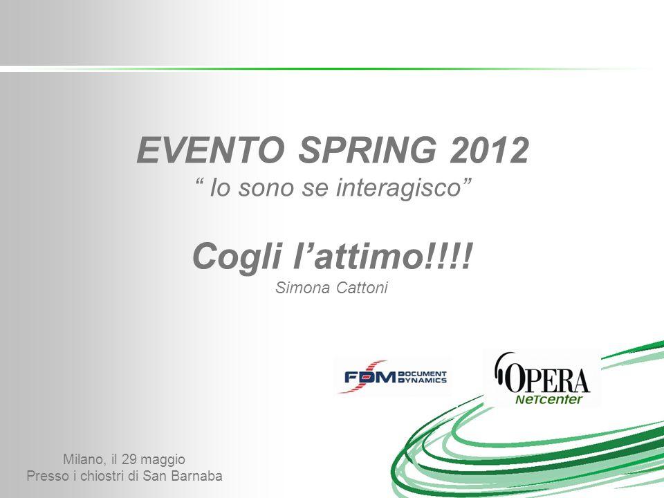 Evento Spring 2012 UN PERCORSO VERSO LINTERAZIONE E FIDELIZZAZIONE DEL CLIENTE FINALE