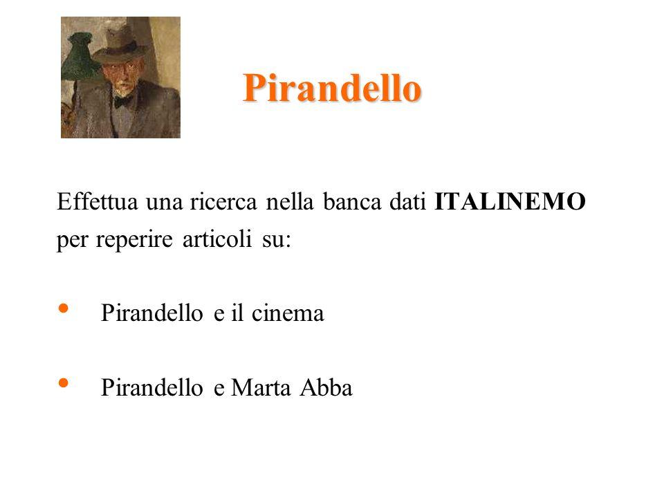 Pirandello Effettua una ricerca nella banca dati ITALINEMO per reperire articoli su: Pirandello e il cinema Pirandello e Marta Abba