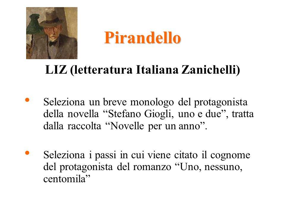 Pirandello LIZ (letteratura Italiana Zanichelli) Seleziona un breve monologo del protagonista della novella Stefano Giogli, uno e due, tratta dalla raccolta Novelle per un anno.