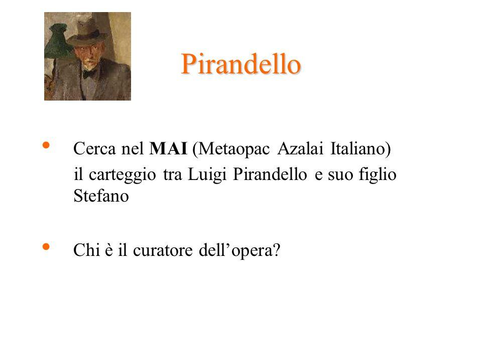 Pirandello Cerca nel MAI (Metaopac Azalai Italiano) il carteggio tra Luigi Pirandello e suo figlio Stefano Chi è il curatore dellopera