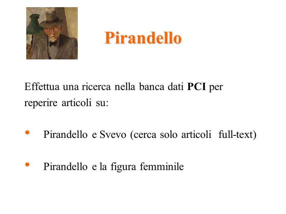 Pirandello Effettua una ricerca nella banca dati PCI per reperire articoli su: Pirandello e Svevo (cerca solo articoli full-text) Pirandello e la figura femminile