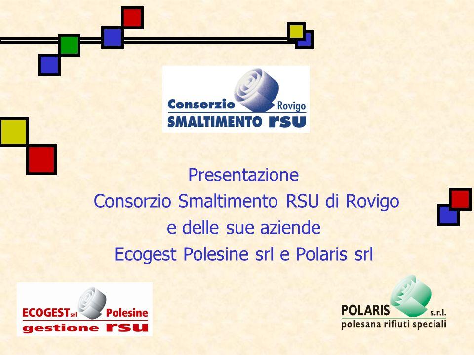 Consorzio smaltimento RSU Nel 1997 viene costituito il Consorzio smaltimento RSU dei 50 Comuni della Provincia di Rovigo.