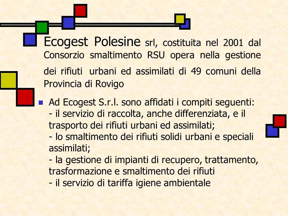 Ecogest Polesine srl, costituita nel 2001 dal Consorzio smaltimento RSU opera nella gestione dei rifiuti urbani ed assimilati di 49 comuni della Provi