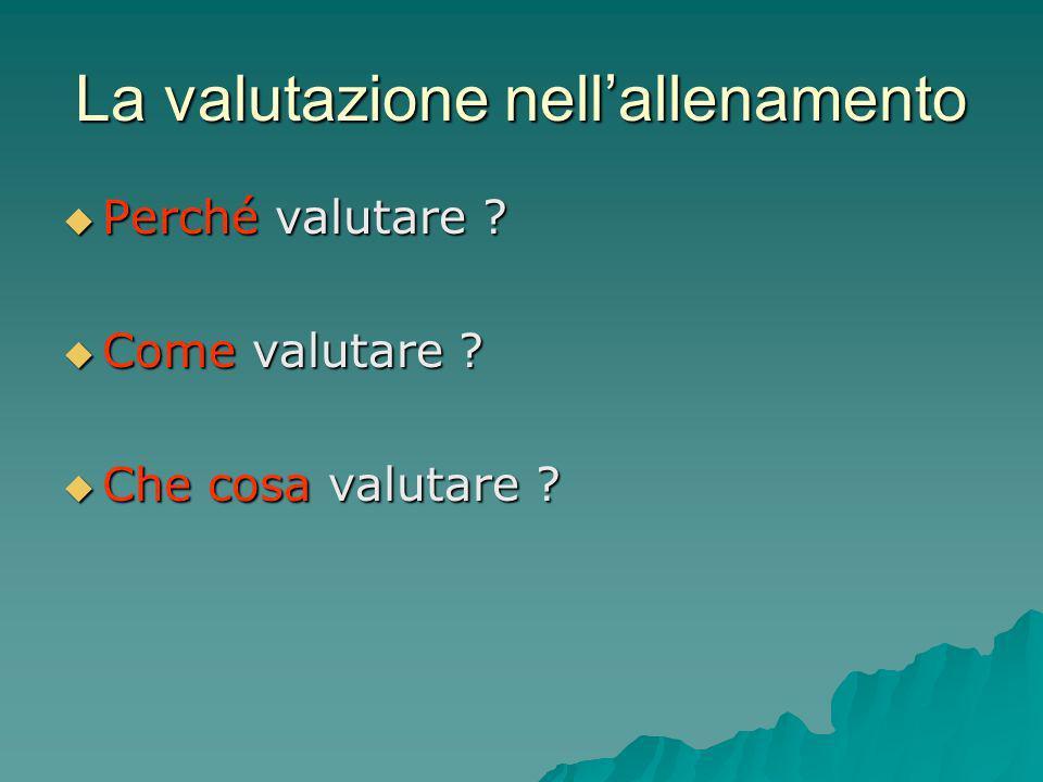 La valutazione nellallenamento Perché valutare ? Perché valutare ? Come valutare ? Come valutare ? Che cosa valutare ? Che cosa valutare ?