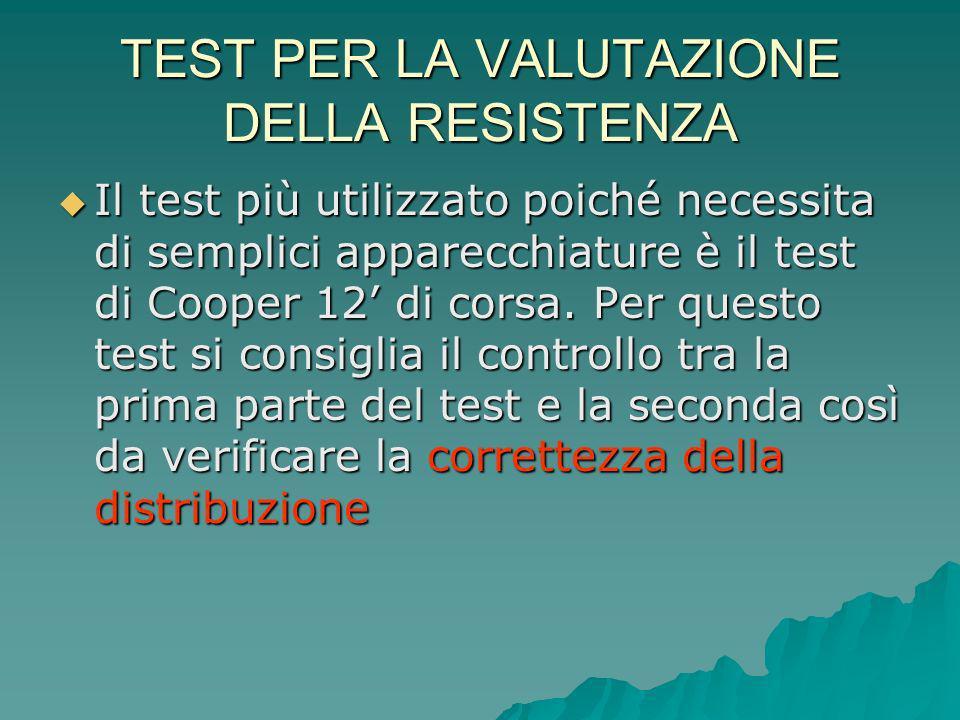 TEST PER LA VALUTAZIONE DELLA RESISTENZA Il test più utilizzato poiché necessita di semplici apparecchiature è il test di Cooper 12 di corsa. Per ques