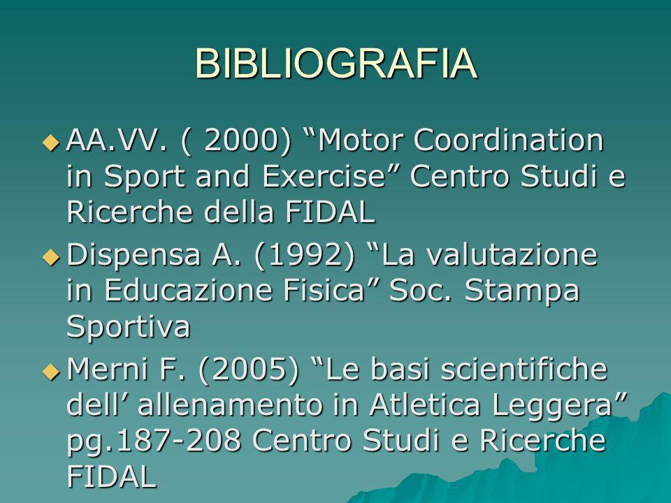BIBLIOGRAFIA AA.VV. ( 2000) Motor Coordination in Sport and Exercise Centro Studi e Ricerche della FIDAL AA.VV. ( 2000) Motor Coordination in Sport an