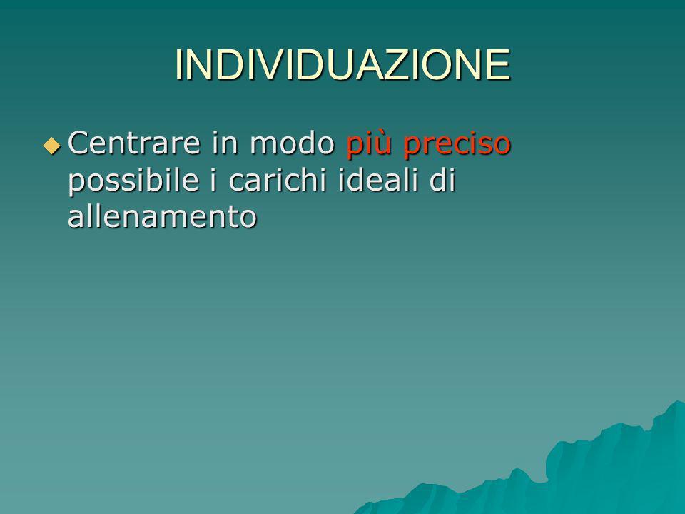 INDIVIDUAZIONE Centrare in modo più preciso possibile i carichi ideali di allenamento Centrare in modo più preciso possibile i carichi ideali di allen