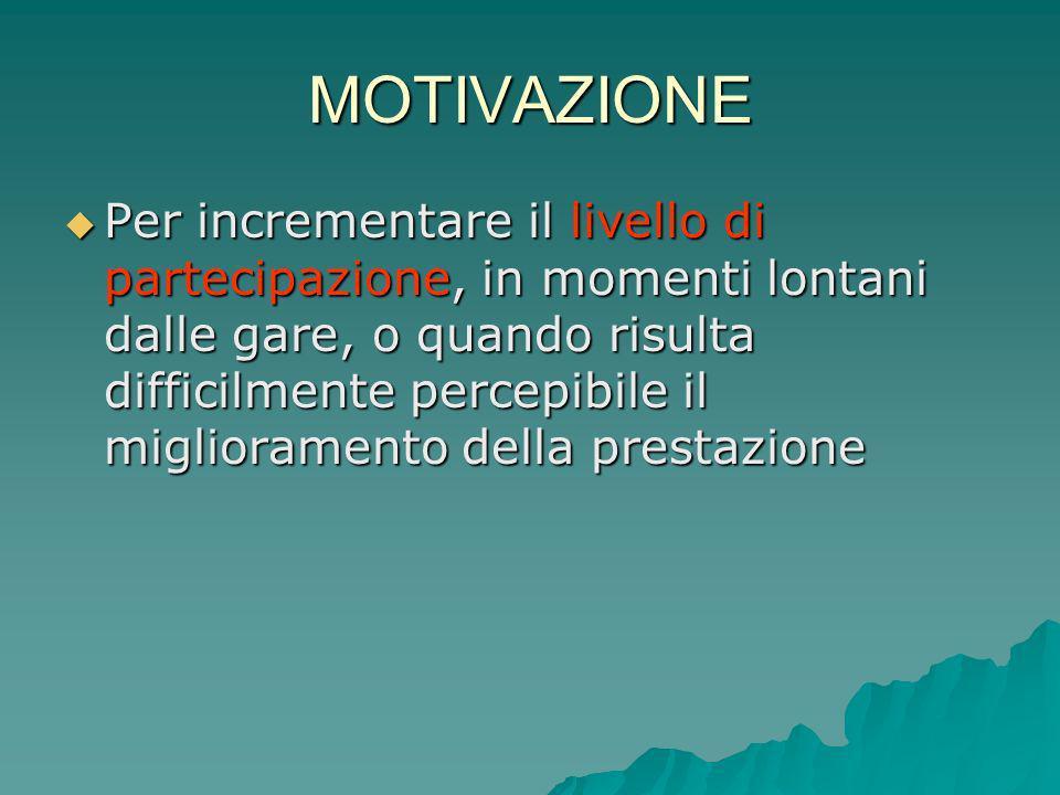 MOTIVAZIONE Per incrementare il livello di partecipazione, in momenti lontani dalle gare, o quando risulta difficilmente percepibile il miglioramento