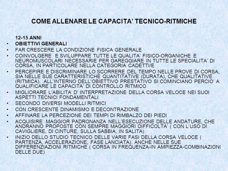 COME ALLENARE LE CAPACITA TECNICO-RITMICHE 12-15 ANNI OBIETTIVI GENERALI FAR CRESCERE LA CONDIZIONE FISICA GENERALE COINVOLGERE E SVILUPPARE TUTTE LE