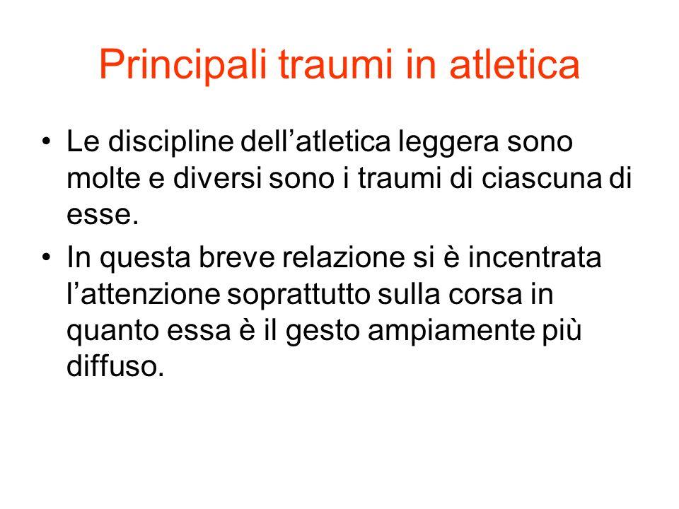 Principali traumi in atletica Le discipline dellatletica leggera sono molte e diversi sono i traumi di ciascuna di esse. In questa breve relazione si