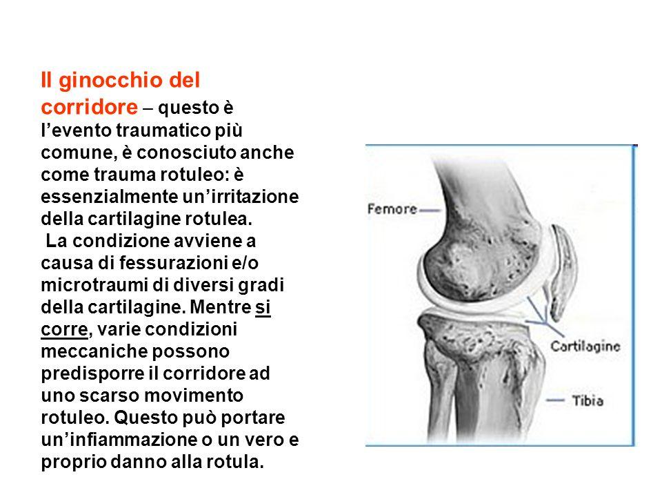 Il ginocchio del corridore – questo è levento traumatico più comune, è conosciuto anche come trauma rotuleo: è essenzialmente unirritazione della cart