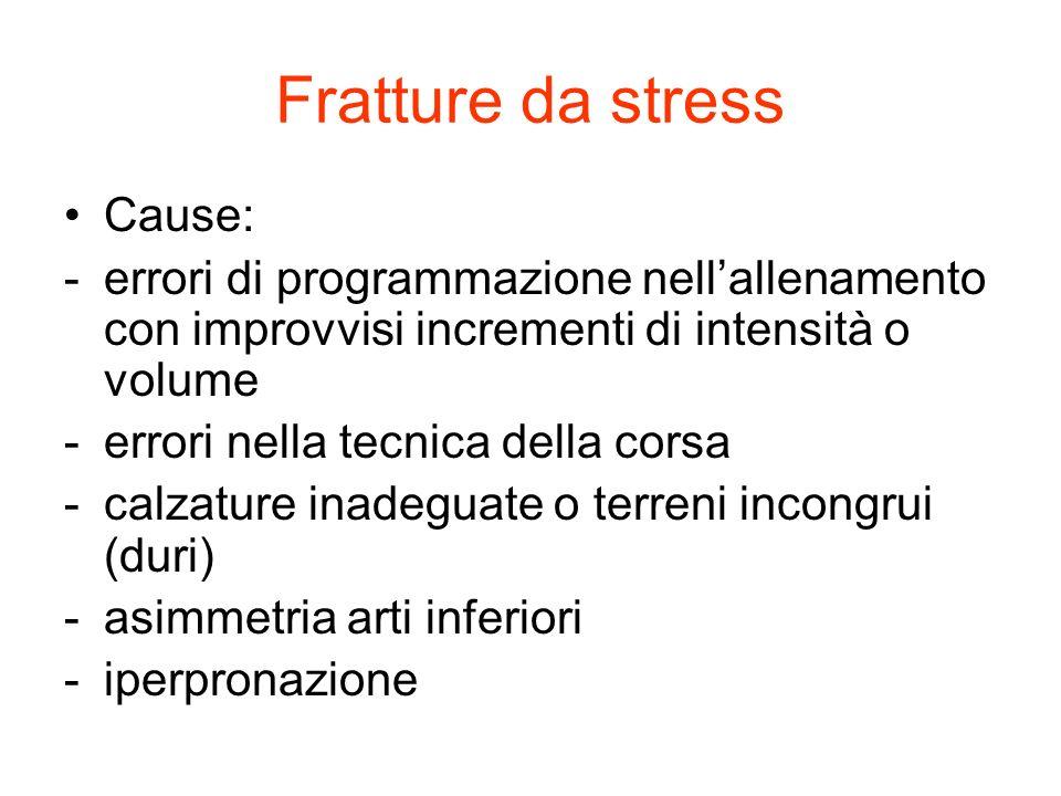 Fratture da stress Cause: -errori di programmazione nellallenamento con improvvisi incrementi di intensità o volume -errori nella tecnica della corsa