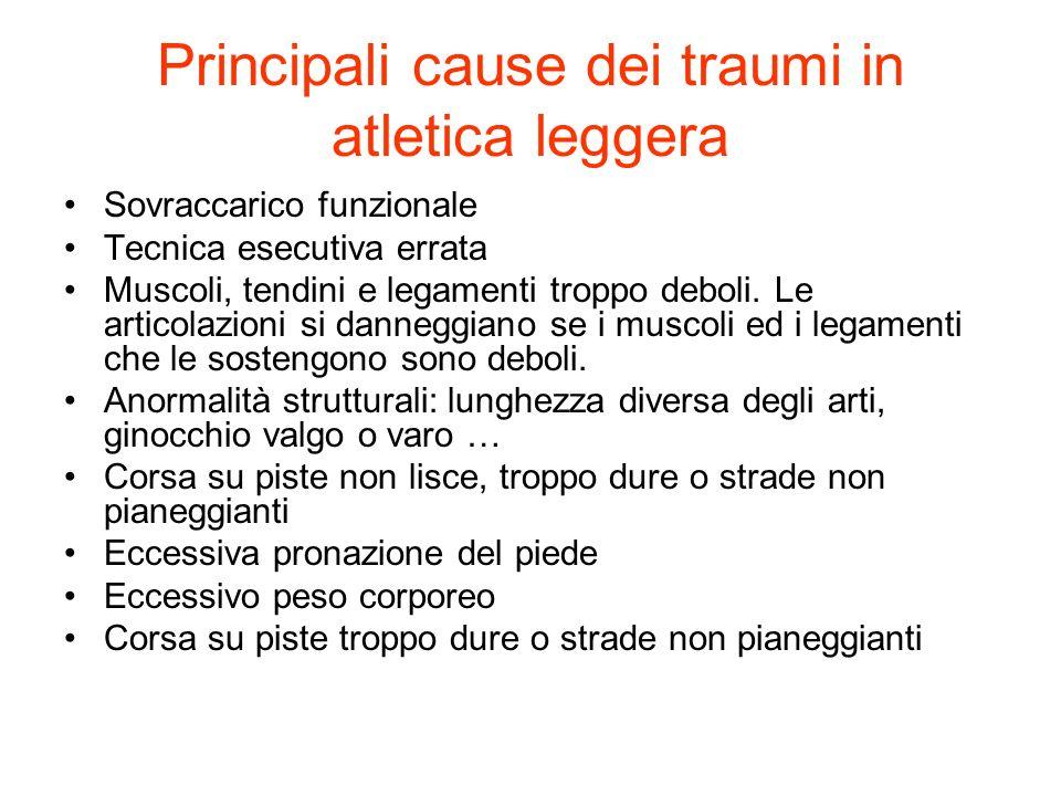 Principali cause dei traumi in atletica leggera Sovraccarico funzionale Tecnica esecutiva errata Muscoli, tendini e legamenti troppo deboli. Le artico