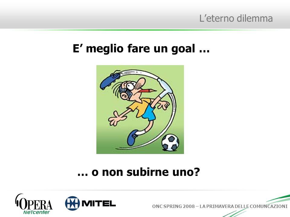 ONC SPRING 2008 – LA PRIMAVERA DELLE COMUNCAZIONI Leterno dilemma E meglio fare un goal … … o non subirne uno