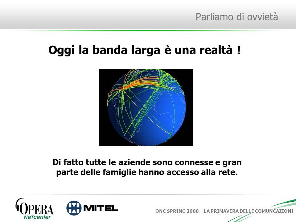 ONC SPRING 2008 – LA PRIMAVERA DELLE COMUNCAZIONI Parliamo di ovvietà Oggi la banda larga è una realtà .
