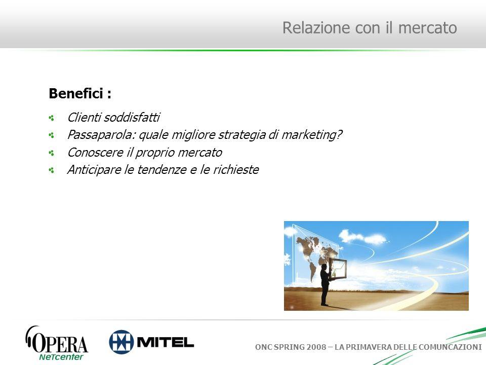 ONC SPRING 2008 – LA PRIMAVERA DELLE COMUNCAZIONI Relazione con il mercato Come si raggiungono questi obiettivi.