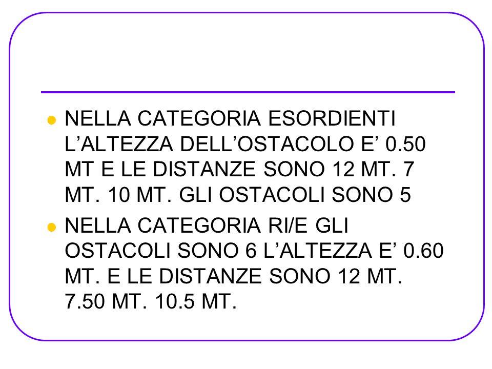 NELLA CATEGORIA ESORDIENTI LALTEZZA DELLOSTACOLO E 0.50 MT E LE DISTANZE SONO 12 MT. 7 MT. 10 MT. GLI OSTACOLI SONO 5 NELLA CATEGORIA RI/E GLI OSTACOL