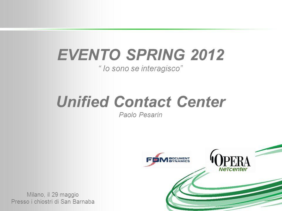 Milano, il 29 maggio Presso i chiostri di San Barnaba EVENTO SPRING 2012 Io sono se interagisco Unified Contact Center Paolo Pesarin