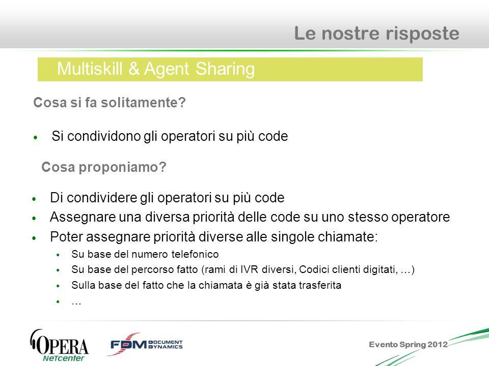 Evento Spring 2012 Le nostre risposte Si condividono gli operatori su più code Cosa si fa solitamente? Multiskill & Agent Sharing Cosa proponiamo? Di