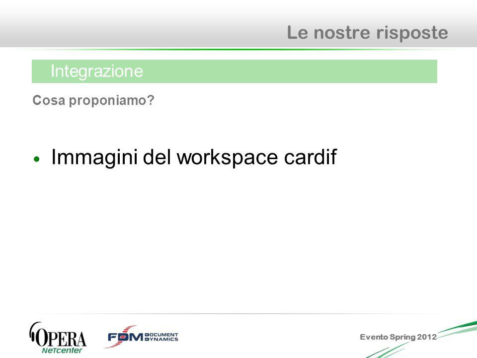 Evento Spring 2012 Le nostre risposte Immagini del workspace cardif Cosa proponiamo? Integrazione