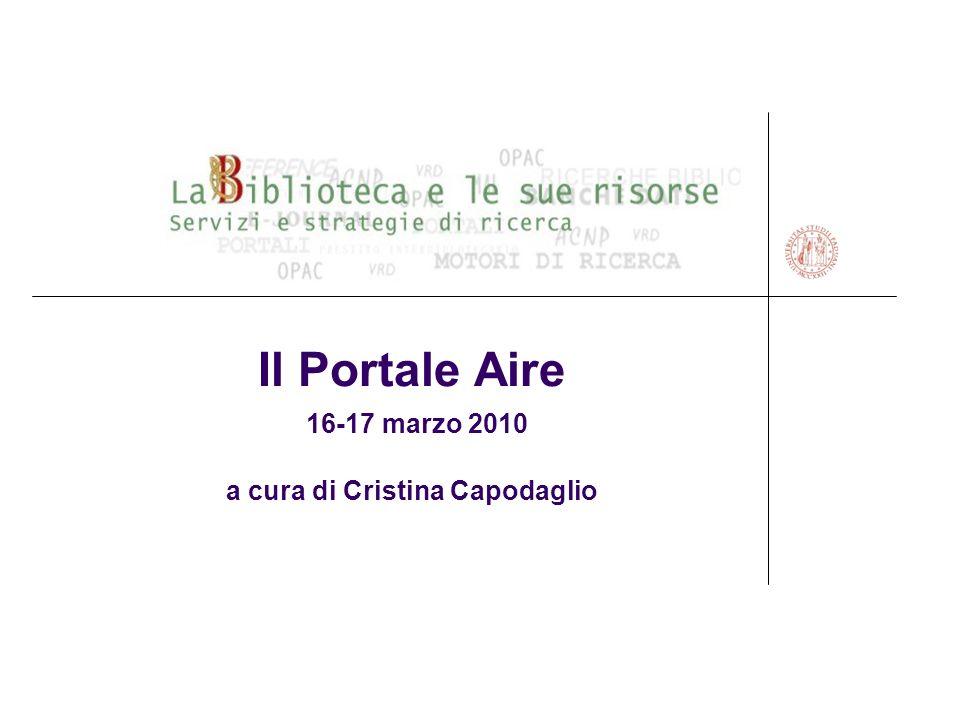 La Biblioteca e le sue risorse - Portale Aire 12 AUTENTICAZIONE Per autenticarsi nel Portale AIRE si usano il codice utente e password del Catalogo del Sistema Bibiliotecario di Padova.