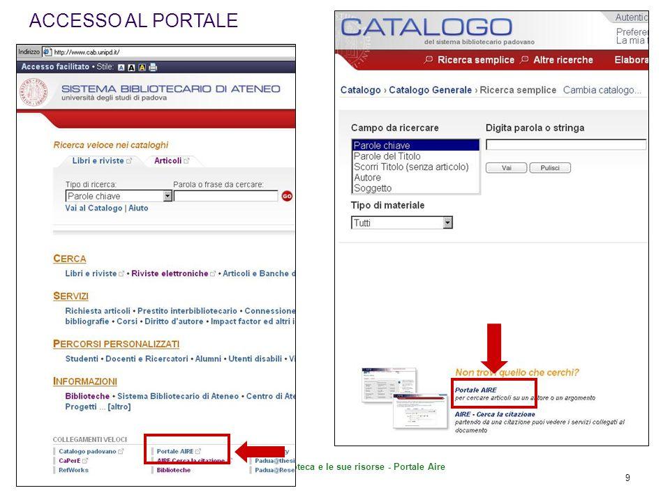 La Biblioteca e le sue risorse - Portale Aire 30 Seleziono la categoria CATEGORIE UTILI: SC.