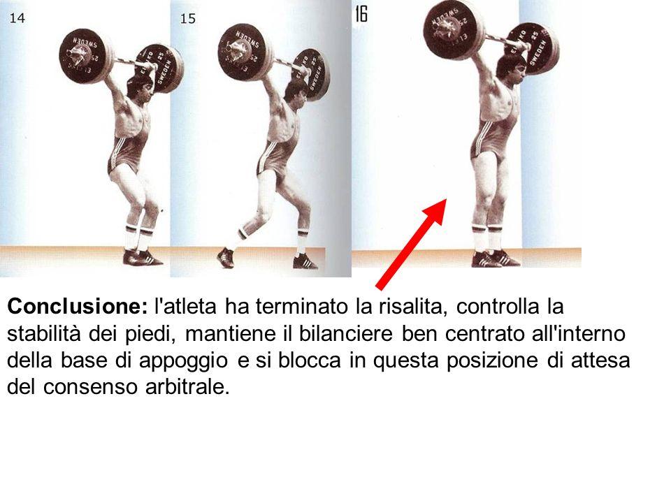 Conclusione: l'atleta ha terminato la risalita, controlla la stabilità dei piedi, mantiene il bilanciere ben centrato all'interno della base di appogg