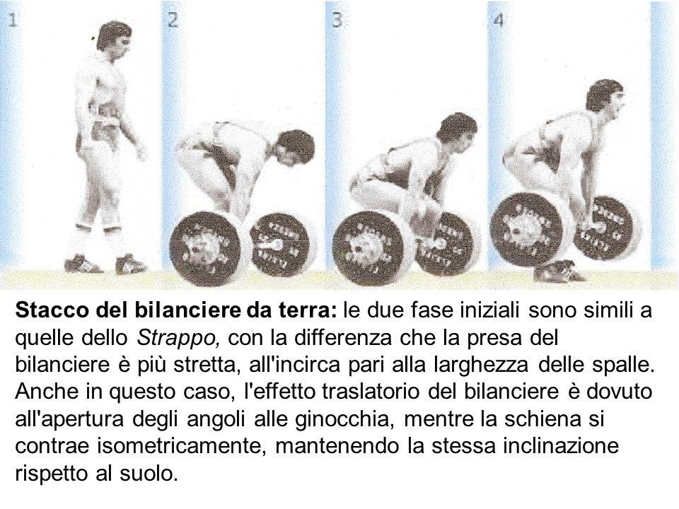 Stacco del bilanciere da terra: le due fase iniziali sono simili a quelle dello Strappo, con la differenza che la presa del bilanciere è più stretta,