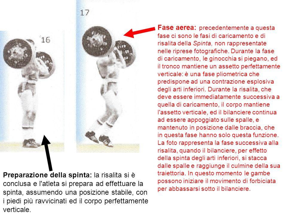 Preparazione della spinta: la risalita si è conclusa e l'atleta si prepara ad effettuare la spinta, assumendo una posizione stabile, con i piedi più r