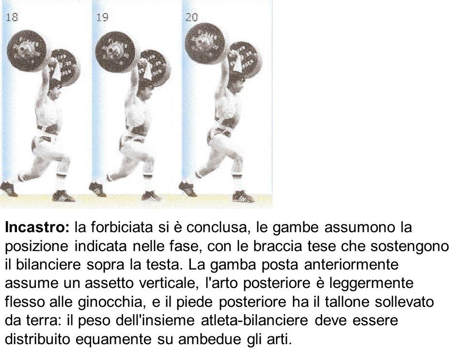 Incastro: la forbiciata si è conclusa, le gambe assumono la posizione indicata nelle fase, con le braccia tese che sostengono il bilanciere sopra la t