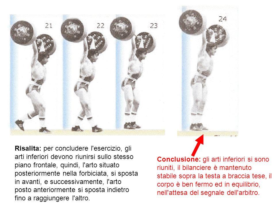Risalita: per concludere l'esercizio, gli arti inferiori devono riunirsi sullo stesso piano frontale, quindi, l'arto situato posteriormente nella forb