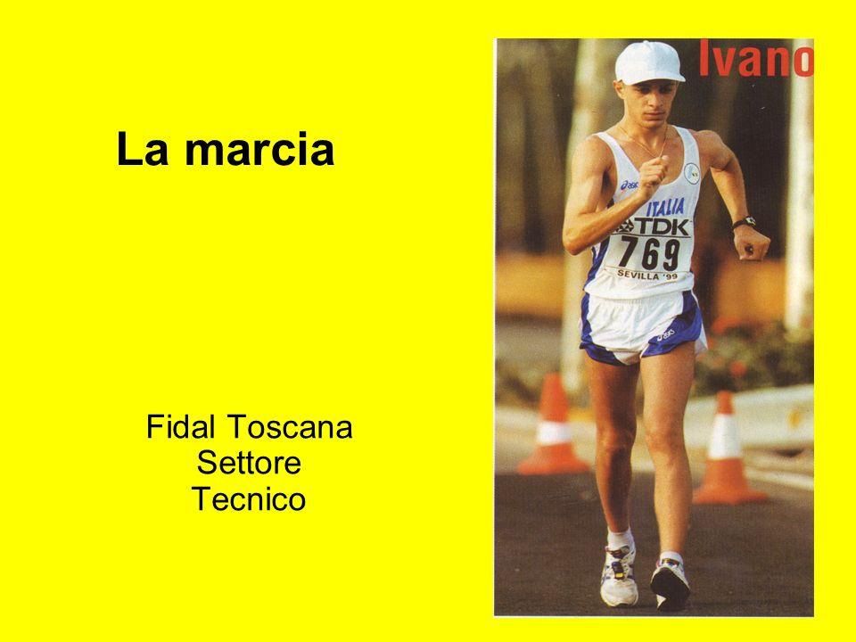 Marcia: allenamento 3 – marcia a ritmo lento-medio: 85-90% velocità di gara -I-Importante per curare la tecnica -A-Anello di congiunzione tra lavoro lento e lavoro medio -V-Volume (km): cadetti = 5-6 cadette = 3-5 allievi = 8-10 allieve = 6-8 juniores m = 10-15 juniores f = 10-12 20 km - seniores m = 10-20 seniores f = 10-15 50 km - seniores m = 10-15