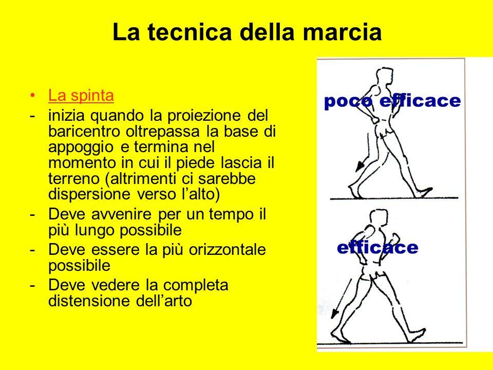 La tecnica della marcia La spinta -inizia quando la proiezione del baricentro oltrepassa la base di appoggio e termina nel momento in cui il piede las