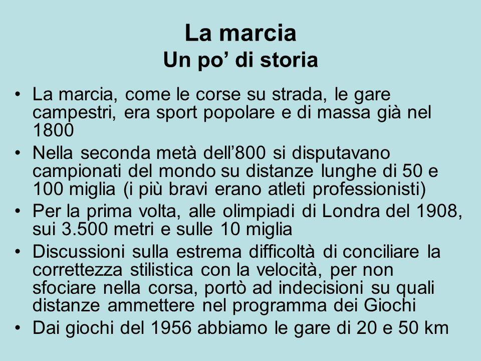 La marcia Un po di storia La marcia, come le corse su strada, le gare campestri, era sport popolare e di massa già nel 1800 Nella seconda metà dell800