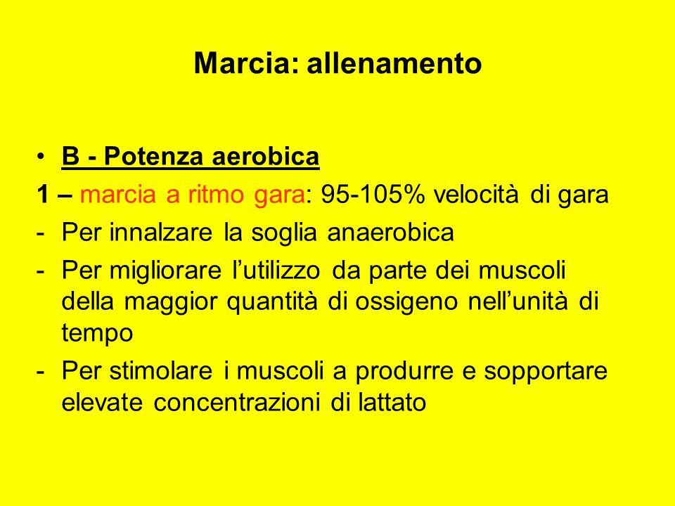 B - Potenza aerobica 1 – marcia a ritmo gara: 95-105% velocità di gara -P-Per innalzare la soglia anaerobica -P-Per migliorare lutilizzo da parte dei muscoli della maggior quantità di ossigeno nellunità di tempo -P-Per stimolare i muscoli a produrre e sopportare elevate concentrazioni di lattato