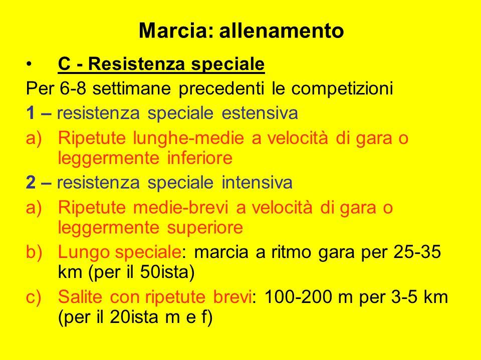 C - Resistenza speciale Per 6-8 settimane precedenti le competizioni 1 – resistenza speciale estensiva a)Ripetute lunghe-medie a velocità di gara o le