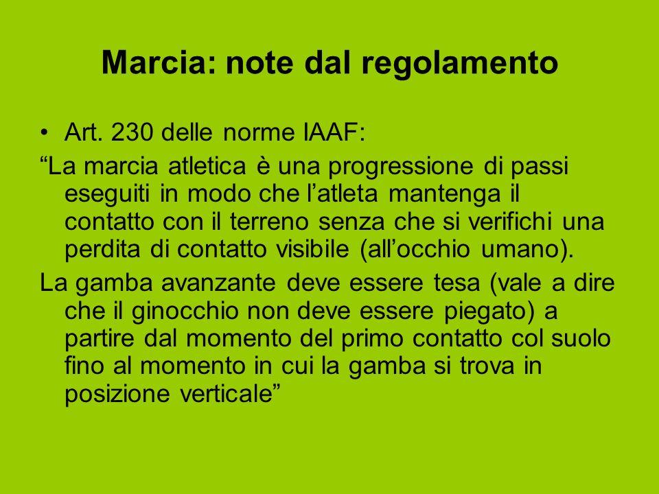Marcia: note dal regolamento Art. 230 delle norme IAAF: La marcia atletica è una progressione di passi eseguiti in modo che latleta mantenga il contat