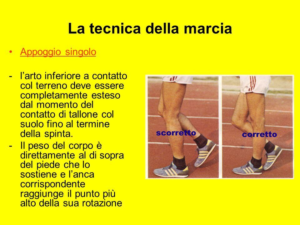 La tecnica della marcia Appoggio singolo - Osservando frontalmente il marciatore si nota la posizione obliqua dellarto portante.