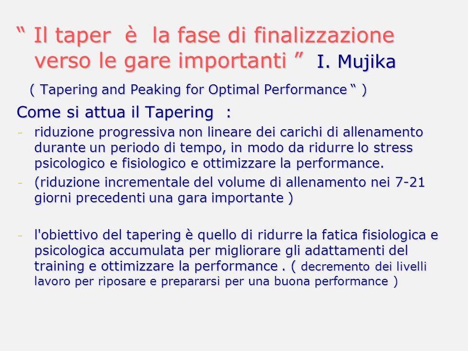 Il taper è la fase di finalizzazione verso le gare importanti I. Mujika Il taper è la fase di finalizzazione verso le gare importanti I. Mujika ( Tape