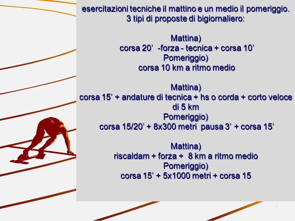 2 e esercitazioni tecniche il mattino e un medio il pomeriggio. 3 tipi di proposte di bigiornaliero: Mattina) corsa 20 -forza - tecnica + corsa 10 Pom