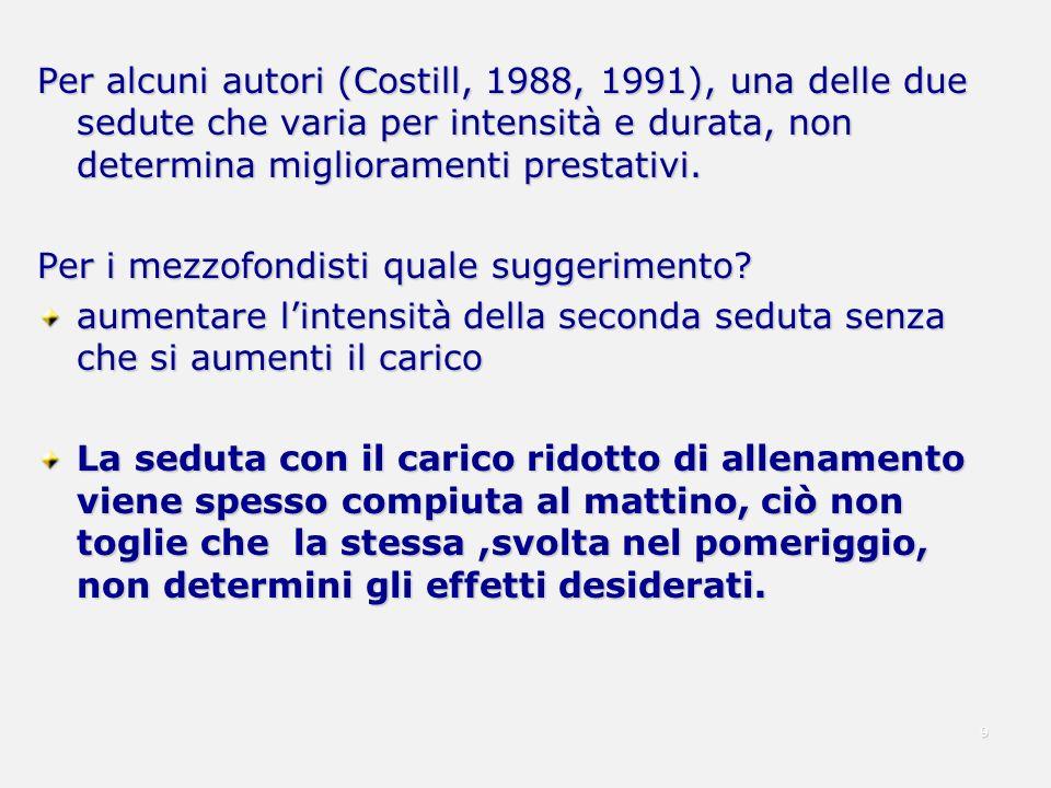 Per alcuni autori (Costill, 1988, 1991), una delle due sedute che varia per intensità e durata, non determina miglioramenti prestativi. Per i mezzofon