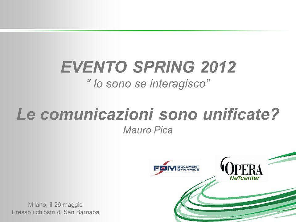 Milano, il 29 maggio Presso i chiostri di San Barnaba EVENTO SPRING 2012 Io sono se interagisco Le comunicazioni sono unificate.