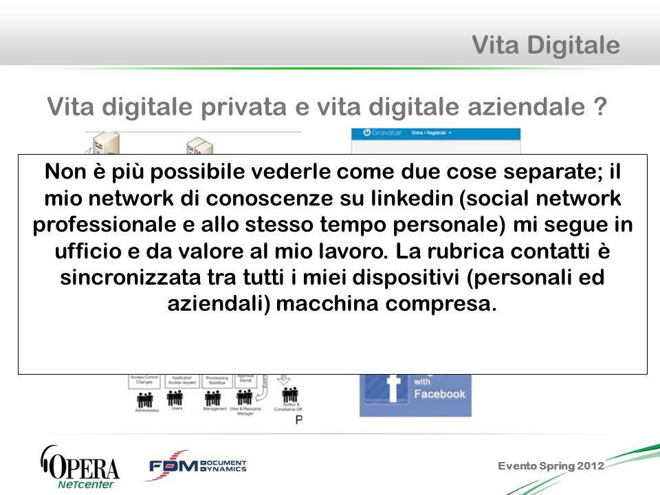 Evento Spring 2012 Vita Digitale Vita digitale privata e vita digitale aziendale .