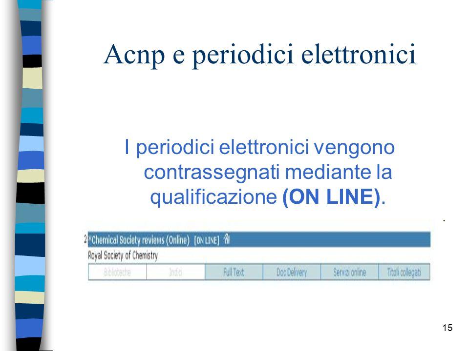 14 Acnp e periodici elettronici La presenza dei periodici elettronici nel catalogo ACNP consente agli utenti di accedere direttamente al testo pieno (full text) degli articoli di diversi editori, interrogando un unico strumento.