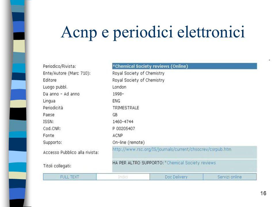 15 Acnp e periodici elettronici I periodici elettronici vengono contrassegnati mediante la qualificazione (ON LINE).
