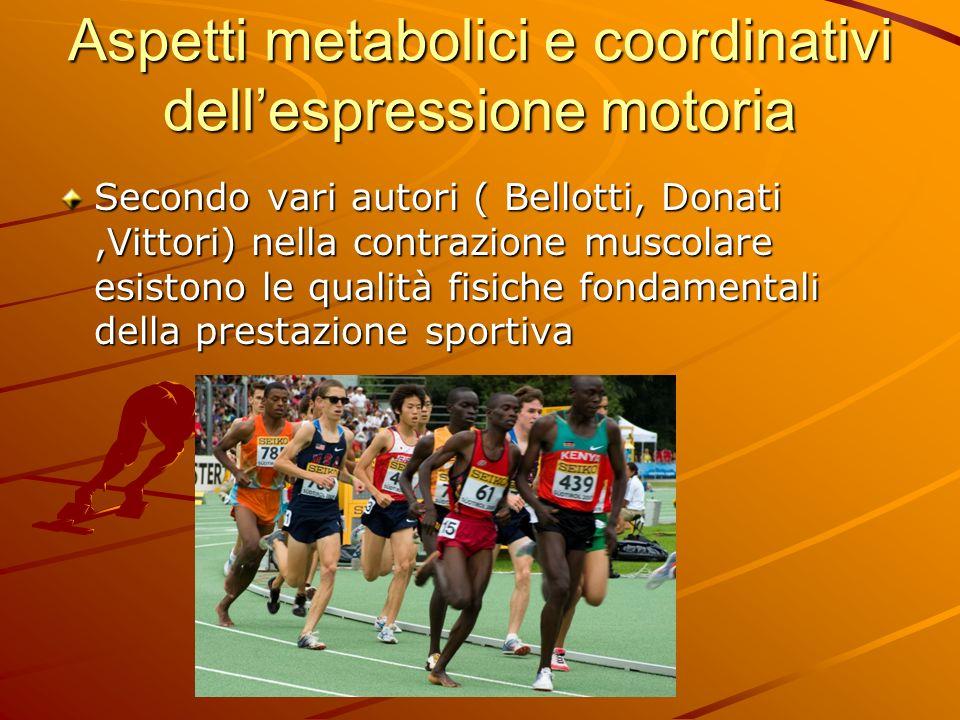 Aspetti metabolici e coordinativi dellespressione motoria Secondo vari autori ( Bellotti, Donati,Vittori) nella contrazione muscolare esistono le qual